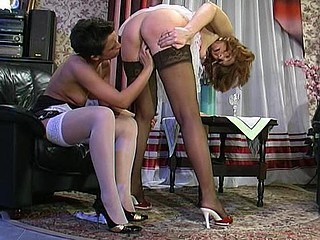 Shy honey not quite getting off from cunt-licking by lustful mature chick