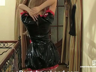 Wicked beauty trying natural and dark hose with her PVC nurse uniform