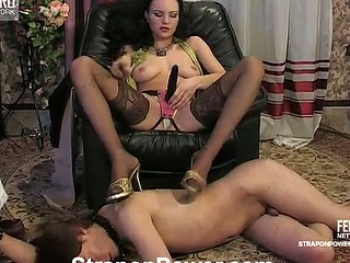 Strap-on armed hottie discloses her wild side strap-on fucking a chap on a leash