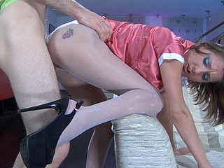 Skinny-legged angel rubs her cell thru white open crotch hose in advance of raw 2some