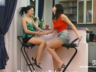 Misapplied lesbo sweethearts caressing twats throughout soft hose on the floor