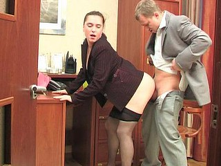 Sultry secretary in hairy tights getting hammered right on their way working table
