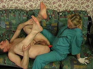 Hot hawt nurse prescribes strap-on fucking treatment for a sick man