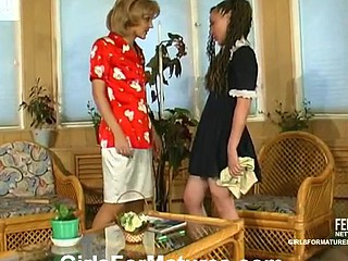 Upskirt French maid seducing raunchy aged gal into soaked all-beauty action