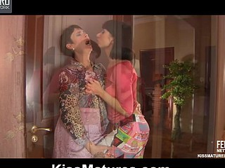 Darksome-haired mommy and a bombshell go for lez 69ing with hawt kisses and marital-device play