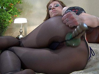 Sentimental slut stuffs a huge overweight vibrator out of taking off say no to impolite black tube