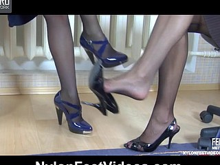Nora&Paulina perverted nylon feet dare