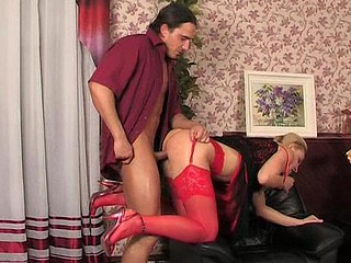 Clothed up honey in hawt red lacy nylons getting down with her hung date