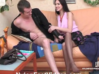 Naughty sweetheart in tan hose going down for footjob and steamy coupling