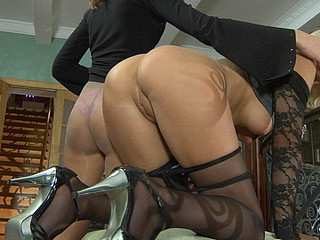 Three lezzies in nylon tights go for sensual tongue hulking a kiss and clam-diving