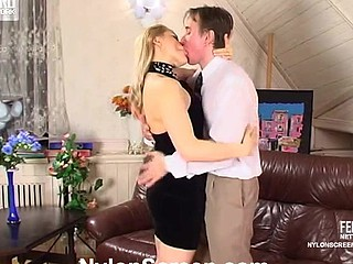 Smashing chick in lace top hold-ups getting her twat licked and drilled