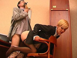 Lewd co-worker sniffing high heel shoes whilst fucking sexy gal in darksome pantyhose