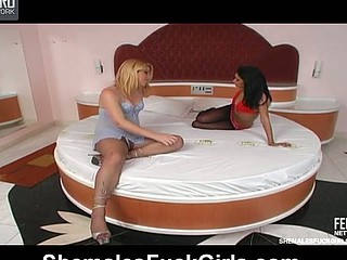 Sweltering shemale tongue-polishing playgirl