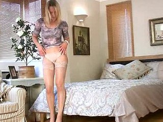 Naughty housewife masturbates in her ottoman when her hubby is away