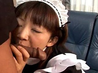 Pretty Japanese wench cleans regarding her slavemaster's requisites