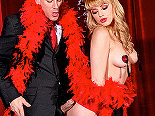 Johnny goes to a burlesque show to watch the seductive, Lexi Belle. This Babe comes out and wows the audience with her tassel whoppers, but then Johnny wows her with his large penis. That Babe can't resist and so this babe must have his pecker inside her.