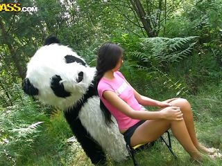 Mr. Panda is outside in the middle of nature and the thin dark brown chick that's with him wants to prove him what an artist that babe is. Well, that babe may not be good at painting but that babe surely knows how to make him glad by sucking his large panda cock. Stay with them and enjoy the wilderness of the forest and much more