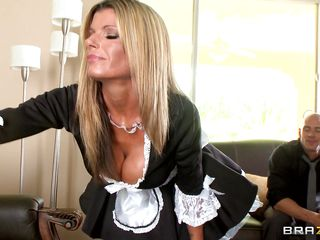 Look how sexy Kristal Summers is looking in that maid's dress. Her large boobs are like bursting out of it. When Johnny saw it he tried to do smth wicked yet Kristal wanted to play with him more. And when Johnny went up a ladder with his boner, the MILF attacked between his legs for his cock!