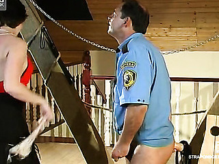 Impure policeman prefers taking strap-on in his wazoo from curvaceous sweetheart
