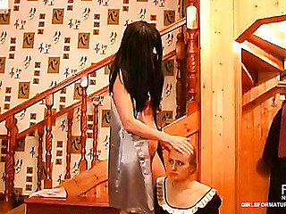 Cute French maid pulls up her petticoat serving her all sexed up mature mistress