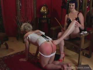 Submissive Male Puts On Leather Lingerie and Gets His Gazoo Spanked and Whipped