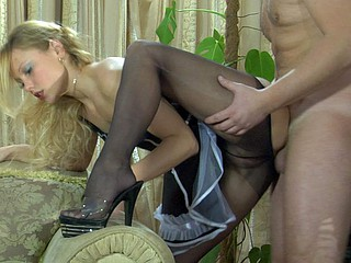 Upskirt maid getting groped and dicked in her sheer darksome tights and heels