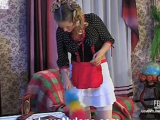 Cute fresh-faced French maid going down for lez throat kisses and pussy play