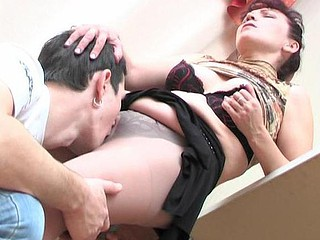 Irresistibly sexy mamma in soft silky hose seducing guy into sheer fuck