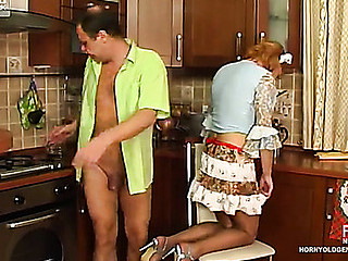 French maid makes passes at her aged boss engulfing and jumping on schlong