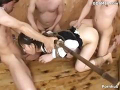 Japanese girl is tied up and blindfolded as they takes turns with her