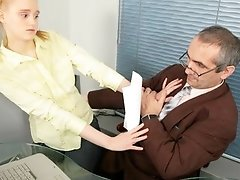 Breasty golden-haired coed pleases her tricky old teacher