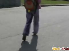Wet purple sweatpants