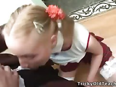 Petite golden-haired gets spoiled by her horny teacher