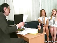 Kinky juvenile gals play with thir teacher's schlong.