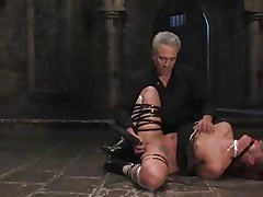 Bound Sara Faye gets her juicy moist clit teased